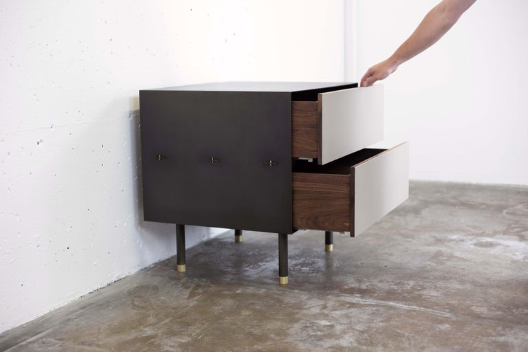 Canadian Connect Nightstand or Bed Table Customizable in Steel, Walnut and Leather For Sale