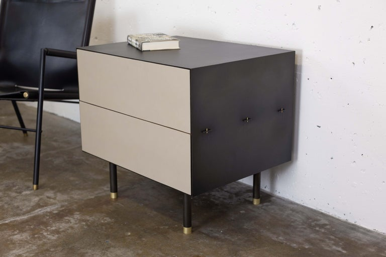 Connect Nightstand or Bed Table Customizable in Steel, Walnut and Leather In New Condition For Sale In Vancouver, BC