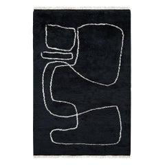 Connection Black, Wool Shaggy Berber Rug in Scandinavian Design