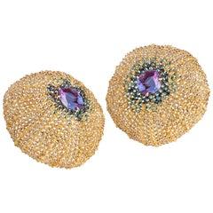"Contemporary 19.2 Karat Rose Gold ""Sea Urchin"" Diamond Earrings"