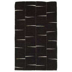Contemporary 21st Century Persian Flat-Weave Kilim Room Size Accent Rug in Black