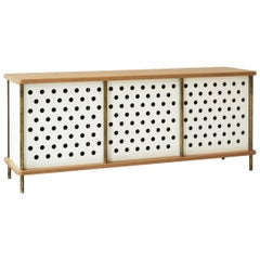 Contemporary 3-Door Strata Credenza in White Oak Wood and Brass by Fort Standard