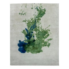 21st Century Abstract Green and Blue Colordrop Hand Knotted Wool Rug