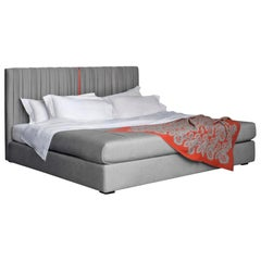 Contemporary Bed, Pure Cashmere, Handmade in Italy, Customizable