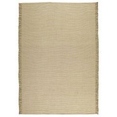 Contemporary Beige Flat-Weave Wool Rug