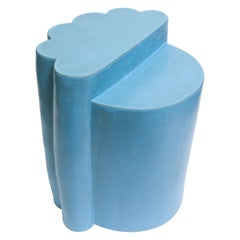 Contemporary Ceramic Baby Blue Ledge Side Table