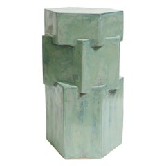 Contemporary Ceramic Jade Hexagon Side Table