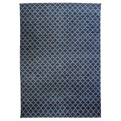 Contemporary Dhurrie Deep Blue and White Hand Knotted Cotton Rug