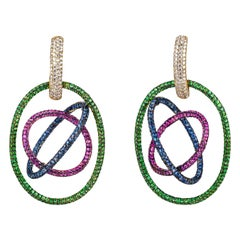 Contemporary Diamond, Sapphire and Tsavorite Earrings in Yellow Gold