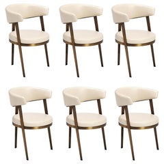 Contemporary Dining Chair Set of 6, Aged Bronze/Beige