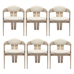 Contemporary Dining Chair Set of 6, Distressed Cream/Whitewashed Oak