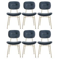 Contemporary Dining Chairs, Polished Brass / Vintage Grey, Set of 6