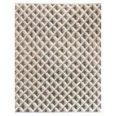 21st Century Geometric Beige, Brown and Gray Handwoven Wool Rug