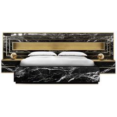 Contemporary Godafoss Bed with Nightstands, Brass, Marble