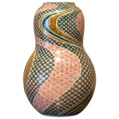 Contemporary Green Red Porcelain Vase by Japanese Master Artist