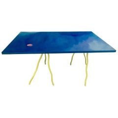 Contemporary Hand-painted Unique Dinner Table and Trestle, Blue and Green