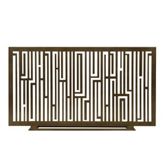 "Contemporary Handmade Geometric Fireplace Screen ""Rimbaud"" in Brass by Anaktae"