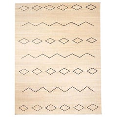 Contemporary Handmade Flat-Wave Beige and Black Kilim Wool Rug
