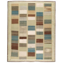 Contemporary Handmade Persian Room Size Flat-Weave Rug
