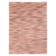 Contemporary Handmade Swedish Inspired Pink Room Size Flat-Weave Rug
