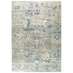 Contemporary Handmade Turkish Oushak Large Carpet in Blue and Green