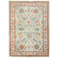 Contemporary Handmade Turkish Oushak Accent Rug in Seafoam Blue