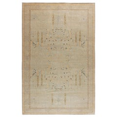 Contemporary Indian Floral Beige, Light Gray and Lilac Wool Rug