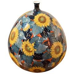 Blue Yellow Porcelain Vase by Japanese Master Artist