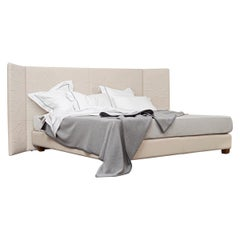 Contemporary Leather Bed, Handmade in Italy, Customizable