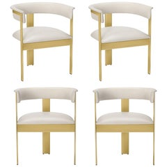 Contemporary Leather Dining Chairs in Polished Brass Frame, Set of 4