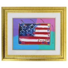 Contemporary Modern Framed Peter Max Flag with Heart Signed Mixed-Media