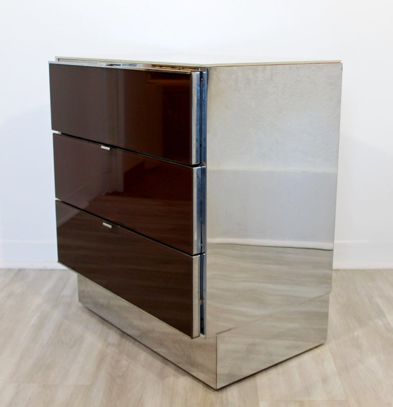 Late 20th Century Contemporary Modern Pair of Mirrored Cabinets Nightstands by Ello 1980s Brown For Sale