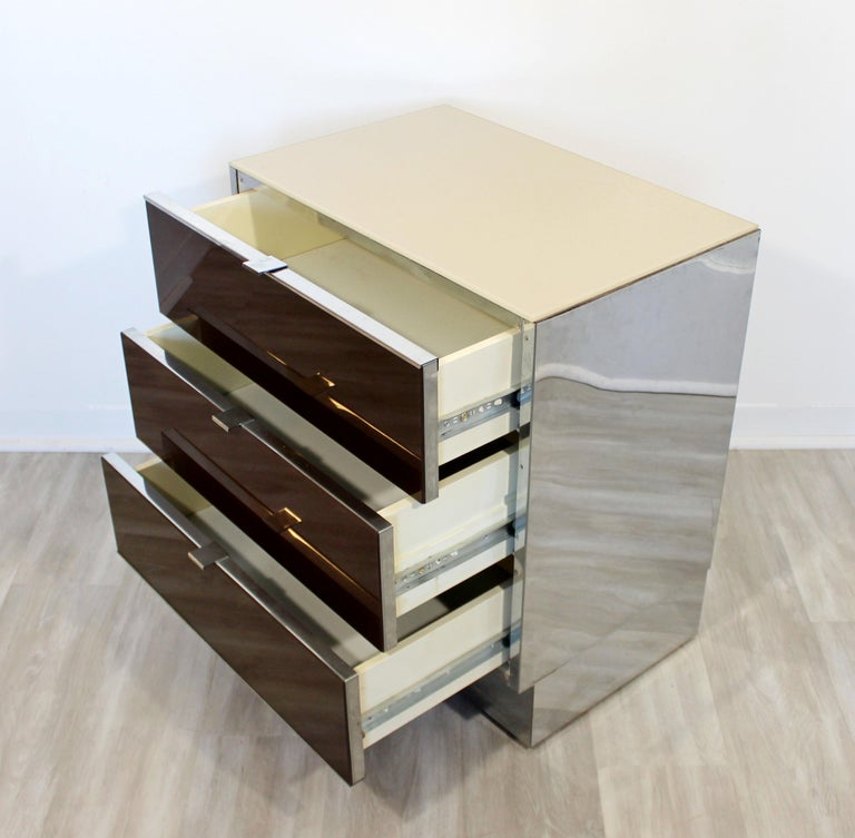 Contemporary Modern Pair of Mirrored Cabinets Nightstands by Ello 1980s Brown For Sale 1