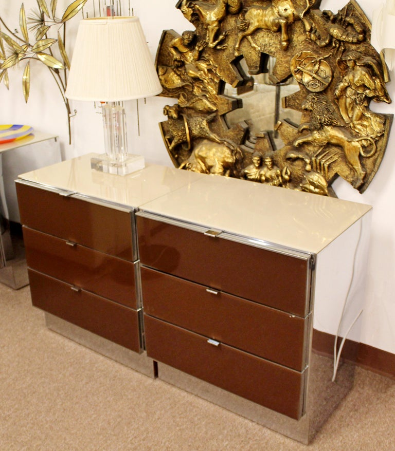Contemporary Modern Pair of Mirrored Cabinets Nightstands by Ello 1980s Brown For Sale 2