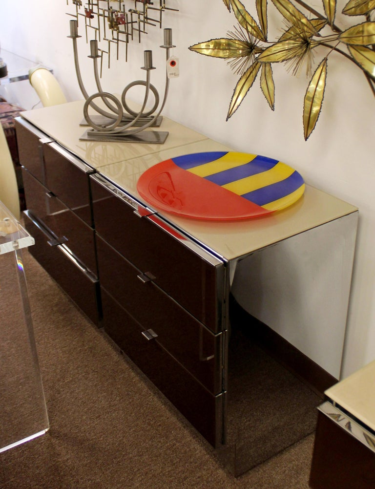 Contemporary Modern Pair of Mirrored Cabinets Nightstands by Ello 1980s Brown For Sale 3