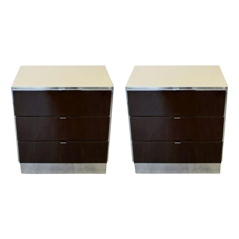 Contemporary Modern Pair of Mirrored Cabinets Nightstands by Ello 1980s Brown For Sale