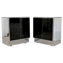 Contemporary Modern Pair of Mirrored Nightstands by Ello, 1980s