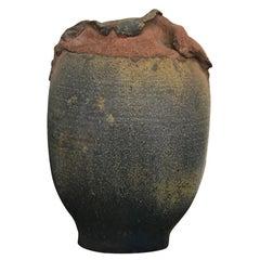 Contemporary Modern Signed Stoneware Vessel Sculpture Glazed Vase