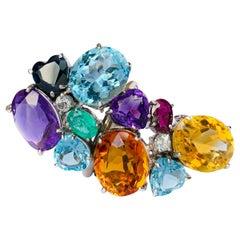 Contemporary Multi-Color Gemstone White Gold Ring