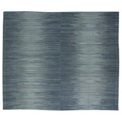 Contemporary Muted Silver and Blue Flat-Woven Wool Rug