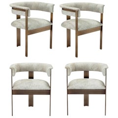 Contemporary Natural Hide Dining Chairs in Bronze Frame