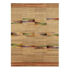 Contemporary Navajo-Sand Colorful Geometric Hand Knotted Wool Rug