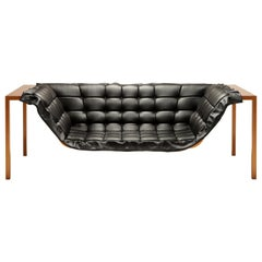 Contemporary Orbital Two-Seat Sofa with Leather Upholstery