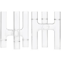 EU Clients Contemporary Set of 2 Czech Glass Trio Candelabra/Bud Vases in Stock
