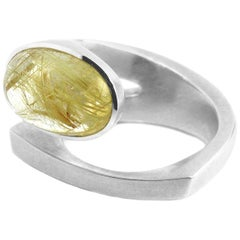 Contemporary Silver Rutilated Quartz Ring