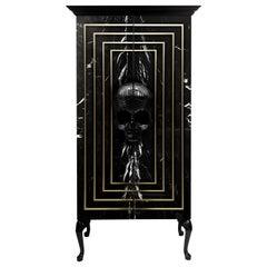 Contemporary Skull Wardrobe, Black, Marble, Brass, Hand Carved