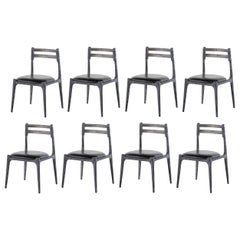 Contemporary Solid Oak Dining Chairs in Genuine Black Leather