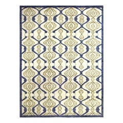 Contemporary Taj Blue and White Hand Knotted Wool Rug