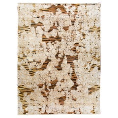 Contemporary Tiger Wool and Silk Hand-Knotted Indian Rug in Brown and Creme