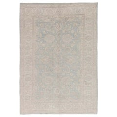 Contemporary Traditional Inspired Tabriz Beige and Blue Handwoven Wool Rug